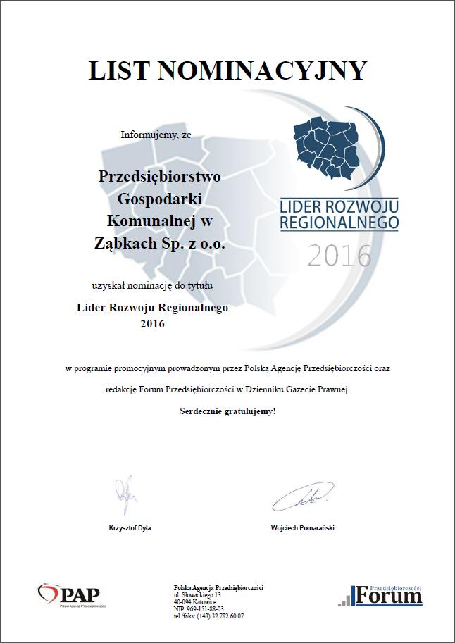 Nominacja - Lider Rozwoju Regionalnego 2016