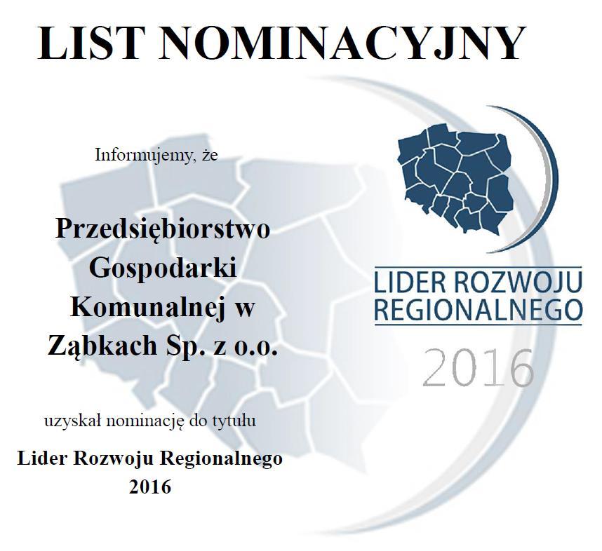 Lider Rozwoju Regionalnego 2016